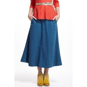 Anthropologie Corduroy Polka Dot Midi Skirt 2